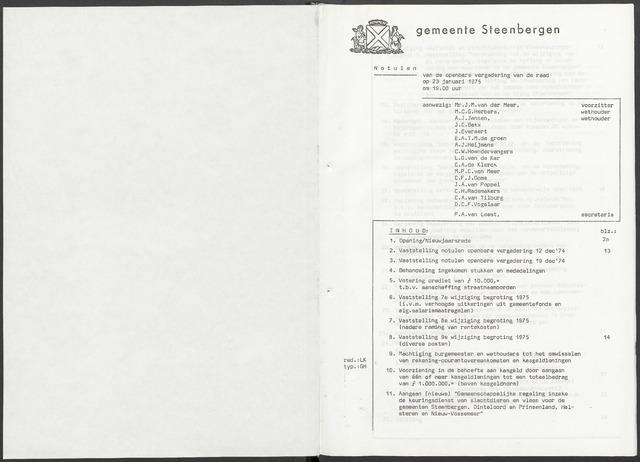 Steenbergen: Notulen gemeenteraad, 1920-1996 1975-01-01