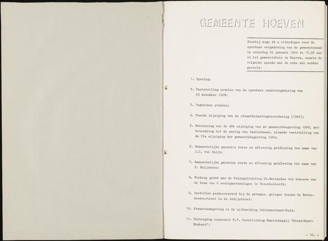 Hoeven: Notulen gemeenteraad, 1928-1996 1969-01-01