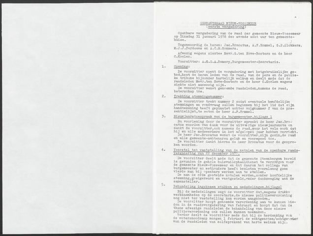 Nieuw-Vossemeer: Notulen gemeenteraad, 1957-1996 1978-01-01