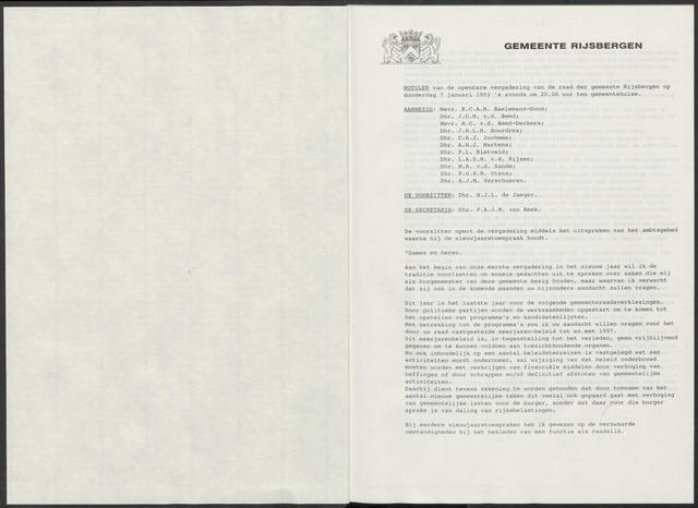 Rijsbergen: Notulen gemeenteraad, 1940-1996 1993