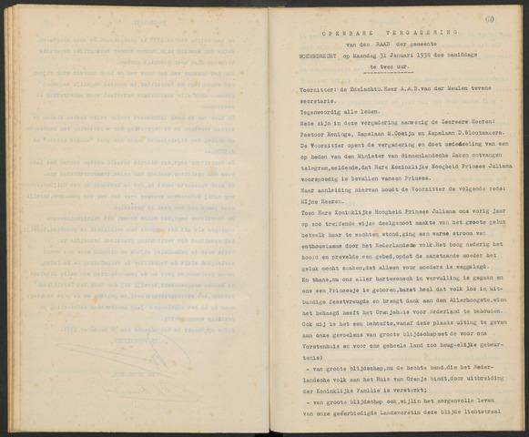 Woensdrecht: Notulen gemeenteraad, 1922-1996 1938-01-01