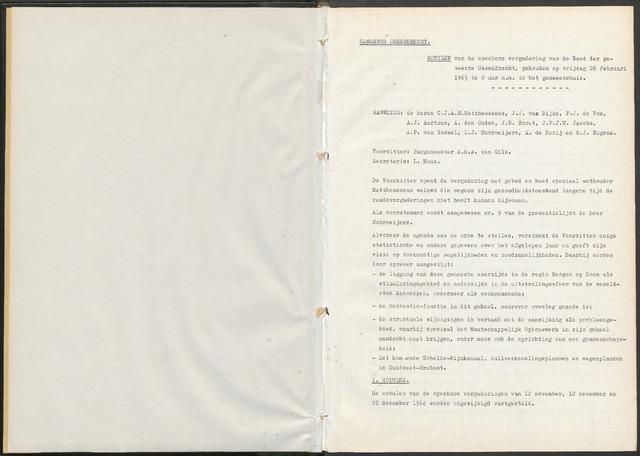 Ossendrecht: Notulen gemeenteraad, 1920-1996 1965