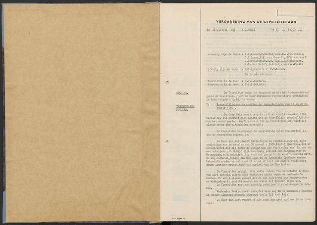 Zundert: Notulen gemeenteraad, 1934-1988 1961-01-01