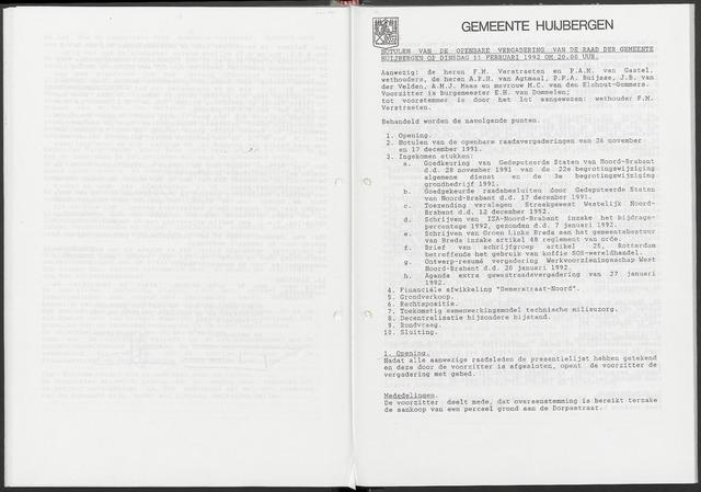 Huijbergen: Notulen gemeenteraad 1935-1996 1992-01-01