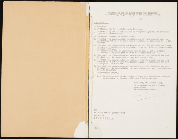 Klundert: Notulen gemeenteraad, mei 1933-1996 1963