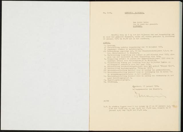 Klundert: Notulen gemeenteraad, mei 1933-1996 1974