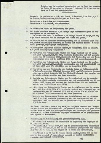 Putte: Notulen gemeenteraad, 1928-1996 1959-01-01