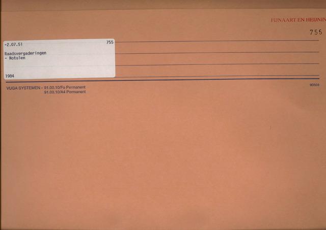 Fijnaart en Heijningen: notulen gemeenteraad, 1934-1995 1984
