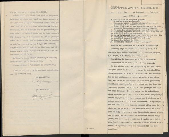 Huijbergen: Notulen gemeenteraad 1935-1996 1938-01-01