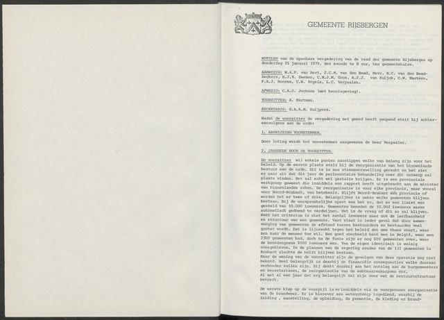 Rijsbergen: Notulen gemeenteraad, 1940-1996 1979