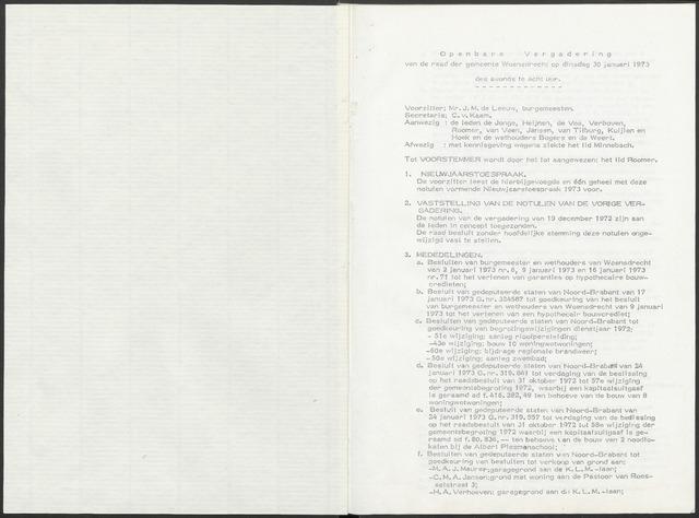 Woensdrecht: Notulen gemeenteraad, 1922-1996 1973-01-01
