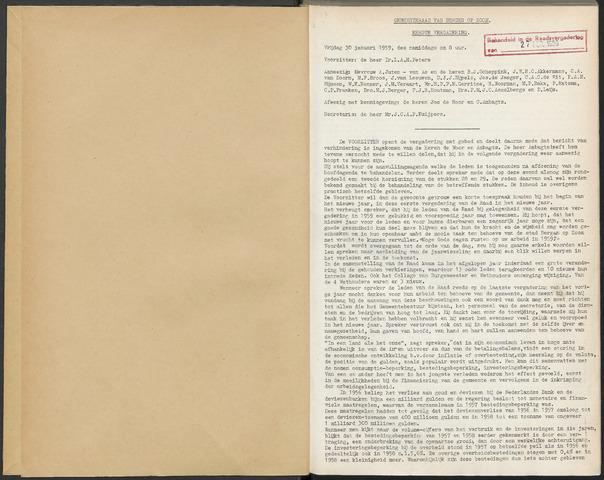 Bergen op Zoom: Notulen gemeenteraad, 1926-1996 1959-01-01