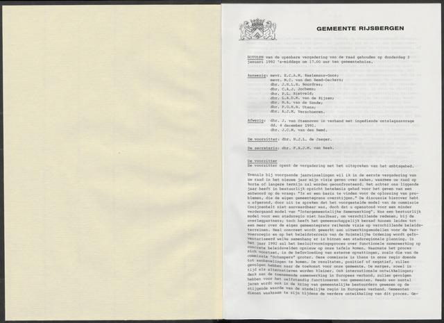 Rijsbergen: Notulen gemeenteraad, 1940-1996 1992