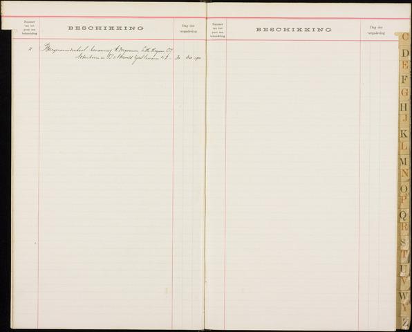 Roosendaal: Alfabetische index, gemeenteraadsnotulen, 1903-1911 1911