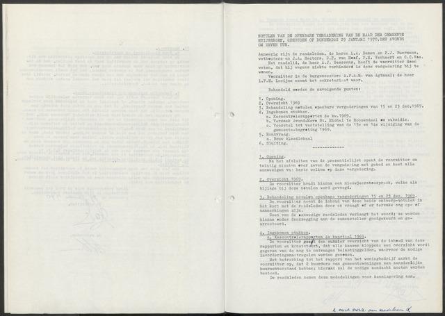 Huijbergen: Notulen gemeenteraad 1935-1996 1970-01-01
