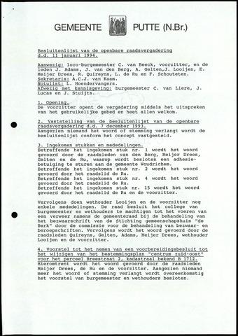 Putte: Notulen gemeenteraad, 1928-1996 1994-01-01