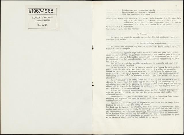 Zevenbergen: Notulen gemeenteraad, 1930-1996 1967-01-01