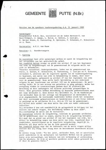 Putte: Notulen gemeenteraad, 1928-1996 1989-01-01