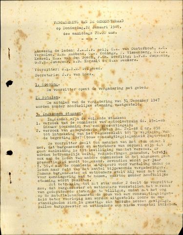 Oudenbosch: Notulen gemeenteraad, 1939-1994 1948-01-01