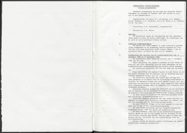 Nieuw-Vossemeer: Notulen gemeenteraad, 1957-1996 1987-01-01