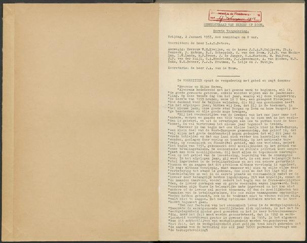 Bergen op Zoom: Notulen gemeenteraad, 1926-1996 1953-01-01