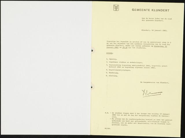 Klundert: Notulen gemeenteraad, mei 1933-1996 1982