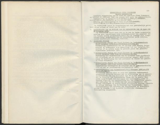 Nieuw-Vossemeer: Notulen gemeenteraad, 1957-1996 1960-01-01