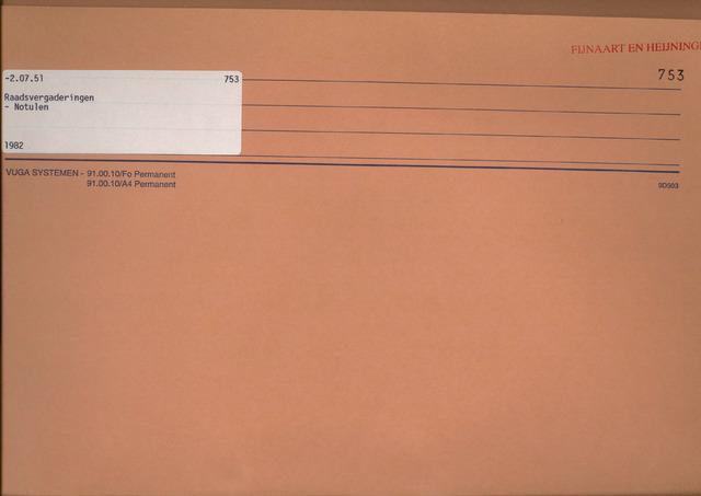 Fijnaart en Heijningen: notulen gemeenteraad, 1934-1995 1982