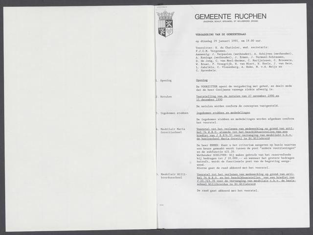Rucphen: Notulen gemeenteraad, dec. 1949-1998 1991-01-01