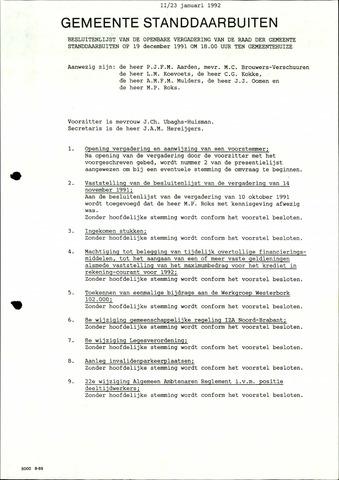 Standdaarbuiten: Notulen gemeenteraad, 1937-1996 1992-01-01