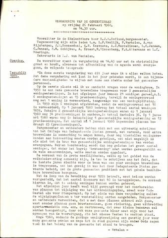 Oud en Nieuw Gastel: Notulen gemeenteraad, 1938-1980 1960-01-01