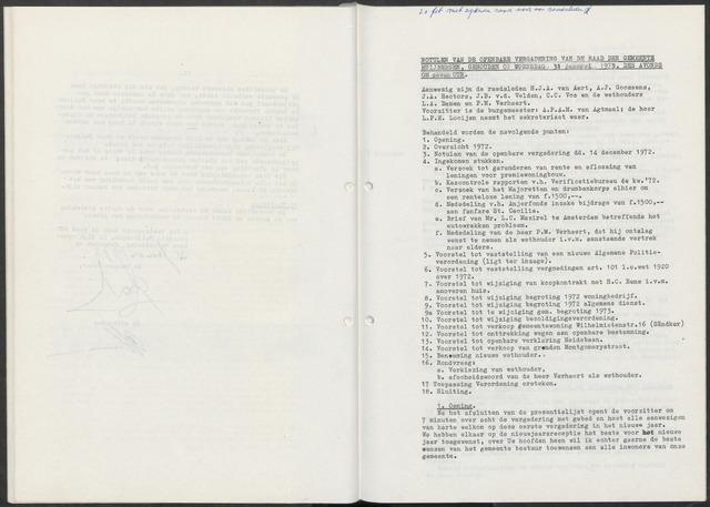 Huijbergen: Notulen gemeenteraad 1935-1996 1973-01-01