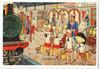 Illustratie van een gezin dat in Middelburg, uit het boek: Van vier vroolijke kl…