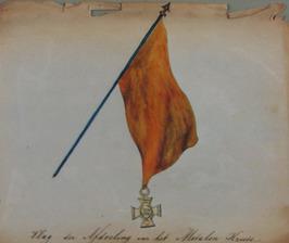 vlag van de afdeling van het metalen kruis Van 21 t/m 30 mei 1862 bracht Z.M. Ko…