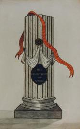 zuil met lint waarop staat Hulde aan Z.M. den Koning - plaquette met: Het gemeen…