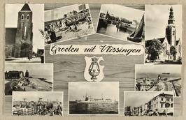 Groeten uit Vlissingen: merkwaardig opschrift. Links boven prijkt de toren van d…