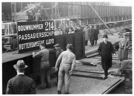 Kiellegging passagiersschip Willem Ruys, 1939.