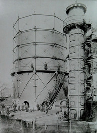 gemeente gasfabriek; gashouder met toegankelijken koepelbodem, inhoud 1820 m2, g…