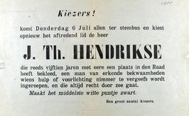 verkiezingsaffiche J.Th. Hendrikse