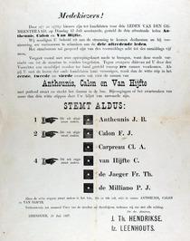 verkiezingsaffiche voor J.B. Antheunis, F.J. Calon, Cl.A. Carpreau, C. van Hijft…