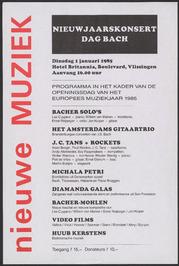 Nieuwe muziek: programma Nieuwsjaarskonsert dag Bach in hotel Britannia.