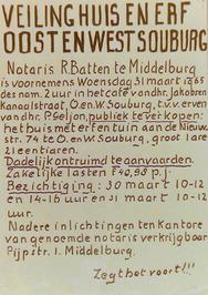 Veiling van huis en erf aan de Nieuwstraat 74.
