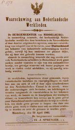 waarschuwing aan Nederlandse werklieden