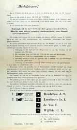 verkiezingsaffiche voor J.T. Hendrikse, Iz.I. Leenhouts, C. de Vos en C.L. Wijff…