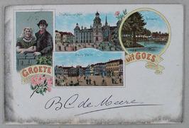 Man en vrouw in Zuid-Bevelandse klederdracht, stadhuis met kerk, Bolwerk, Grote …
