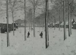sneeuw; links rijtuigenhouderij van Leeuwen