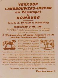 verkoop landbouwers-inspan en veestapel op de hofstede het Groentje