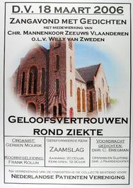 zangavond met gedichten m.m.v. het Chr. mannenkoor Zeeuws-Vlaanderen in de Geref…