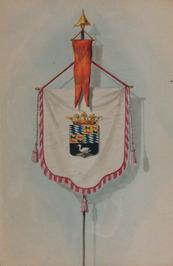 vaandel met gemeentewapen; Van 21 t/m 30 mei 1862 bracht Z.M. Koning Willem III …