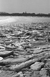 ijsgang gezien vanaf Grevelingendam